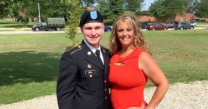 Branch Manager Jennifer Gokool poses with nephew in Army